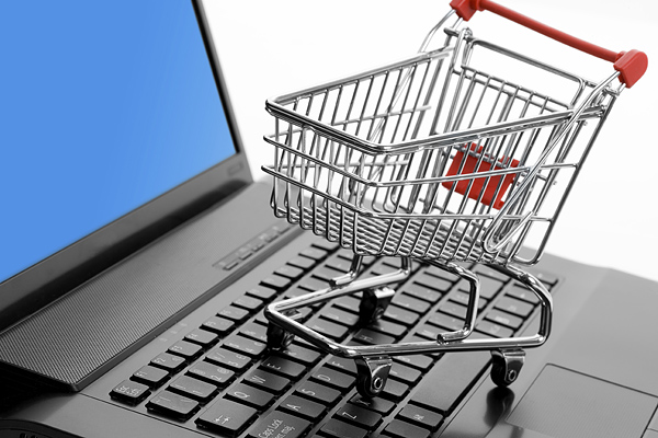 Shopping Cart and Computer keyboard